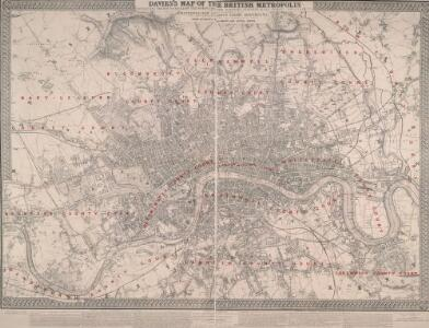 DAVIES'S MAP OF THE BRITISH METROPOLIS CONTAINING THE BOUNDARIES OF THE BOROUGHS THE RAILWAYS, STATIONS & All MODERN IMPROVEMENTS
