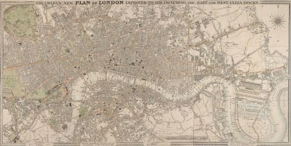 CRUCHLEY'S NEW PLAN OF LONDON IMPROVED TO 1826 INCLUDING THE EAST AND WEST INDIA DOCKS 223