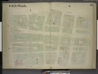 [1st & 2nd Wards. Plate G: Map bounded by Platt       Street, Burling Slip, South Street, Wall Street, William Street; Including       Maiden Lane, Fletcher Street, Liberty Street, Cedar Street, Depeyster Street,    Pine Street, Gold Street, Pearl Str