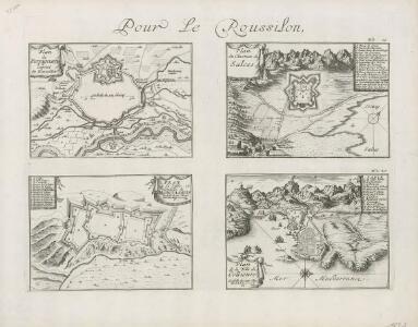 Pour le Roussilon: Plan de Perpignan, capital du Roussillon. Plan du chasteau de Salces. Plan de la ville et citadelle de Mont-Louis. Plan de la ville de Collioure