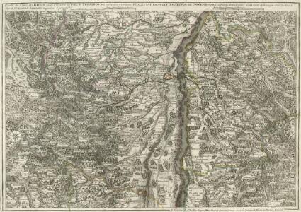Partie du Cours du Rhein ou se Trouvent les Villes de Strasbourg avec Son Territoire Schlestat Benfelt Phalsbourg Offenbourg et Partie de la Riviere d'Ill leveé et dessigne Sur les lieux