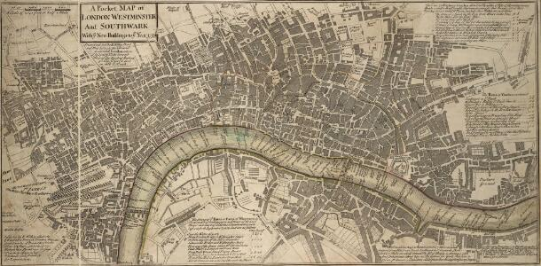 A Pocket MAP of LONDON, WESTMINSTER and SOUTHWARK With ye New Buildings to ye Year 1759