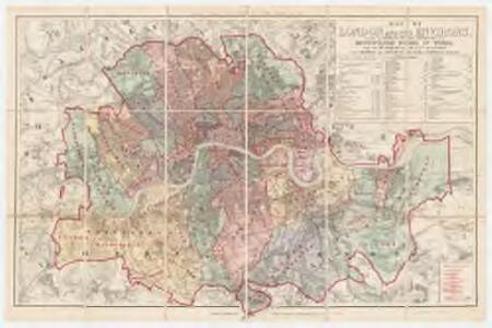 Map of London and its environs : shewing the boundary of the jurisdiction of the metropolitan board of work, also the boundaries of the city of London : Parishes the districts & extra parochial places
