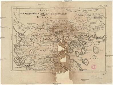 Karte von dem Alten Macedonien Thessalien und Epirus