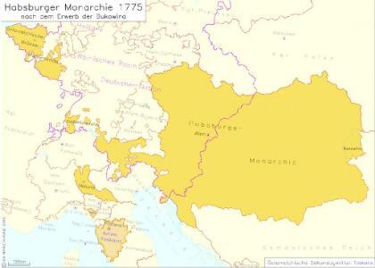Habsburger Monarchie 1775 nach dem Erwerb der Bukowina