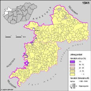 A horvátok aránya és száma Nyugat-Magyarországon 1941-ben
