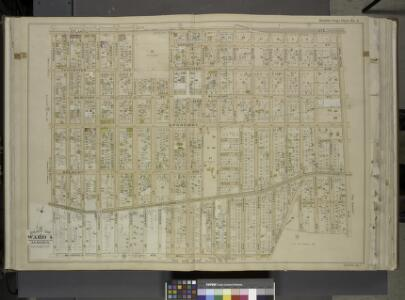 Queens, Vol. 1, Double Page Plate No. 6; Part of Ward 4, Jamaica; [Map bounded by Atlantic Ave., Jefferson Ave., Briggs Ave., Johnson  Ave., Lefferts Ave., Chichester Ave., Broadway, Belmont Ave., Liberty Ave.,      Morris Ave., Maure Ave., Frost Ave.