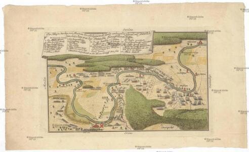 Der Mayn Strohm, von Obernau bis Seeligenstadt sambt umliegender Gegend, und sonderlich dem, d. 27 Juni 1743. bey Dettingen fürgefallenen Treffen