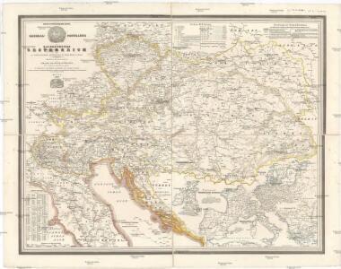 General-Postkarte des Kaiserthumes Oesterreich und der nächsten Grenzländer, mit Ergänzungen der übrigen Staaten in Europa