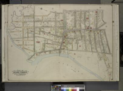 Queens, Vol. 3, Double Page Plate No. 5; Part of ward Three Flushing. [Map bounded by Linden Ave., Bayside Ave., Clinton Ave., Myrtle  Ave., Lawrence Ave., Tailor Ave., Congress Ave., Madison Ave., Bradford Ave.,    Prospect Ave., Jaggar Ave., Jamaica