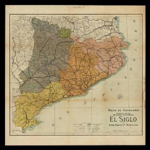 Mapa de Cataluña especial de los Grandes Almacenes El Siglo