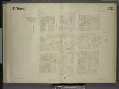 [4th Ward. Plate 12: Map bounded by Catharine Street, Oak Street, Roosevelt Street, Catham Street, Catham Square, Division St;         Including Oliver Street, James Street, East Broadway, Henry Street, Madison      Street]