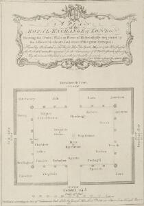 A PLAN of the ROYAL EXCHANGE of LONDON Shewing the several Walks, or Places of Resort, usually frequented by the different Merchants, Traders &c. of this great Metropolis.