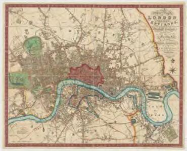a new map of london and its environs from an original survey extending 8 miles east and west 6 14 miles north south in which all new and intended