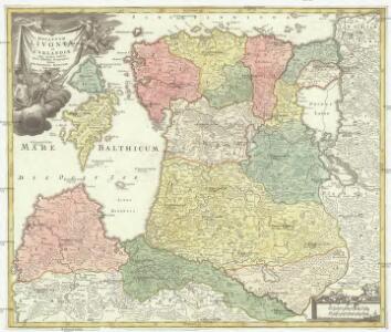 Dvcatvvm Livoniae et Cvrlandiae cum vicinis insulis nova exhibitio geographica