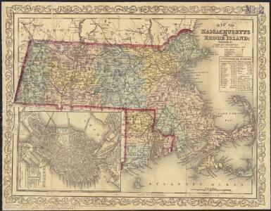 Map of Massachusetts and Rhode Island