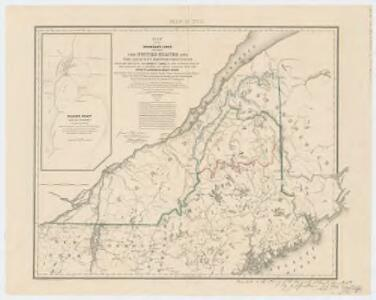 Map of the boundary lines between the United States and the adjacent British provinces : from the mouth of the river St. Croix to the intersections of the parallel of 45 degrees of north latitude with the river St. Lawrence near St. Regis, shewing the lines as respectively claimed by the United States and Great Britain under the Treaty of 1783, as awarded by the King of the Netherlands, and as settled in 1842 by the Treaty of Washington