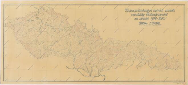 Mapa průměrných ročních srážek republiky Československé za období 1876 - 1900