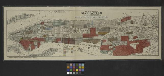 Map of the borough of Manhattan and part of the Bronx showing location and extent of racial colonies.