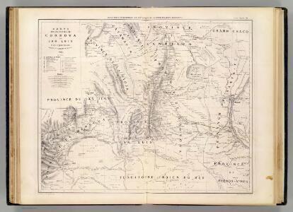 Carte des provinces de Cordova et San Luis.