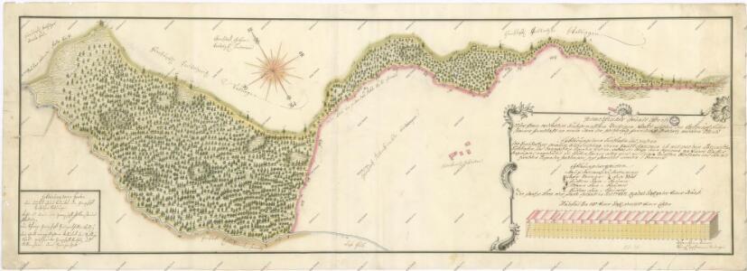 Mapa sporných hraničních území mezi panstvími Ruttenstein a Pertholz 1