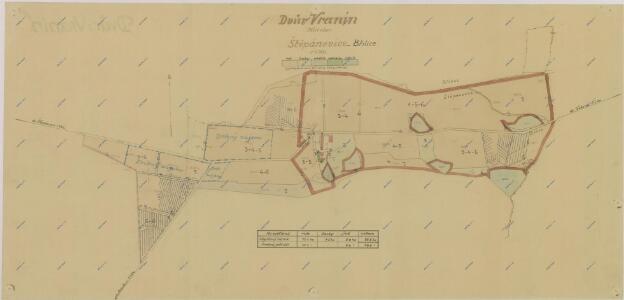 Mapa dělení pozemků dvora Vranín po I. pozemkové reformě, s vyznačením bonity půdy 1
