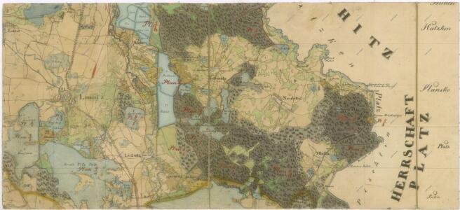 Administrativní mapa třeboňského panství se statky Bzí,Lomnice, Borovany,Hamr a Val 1