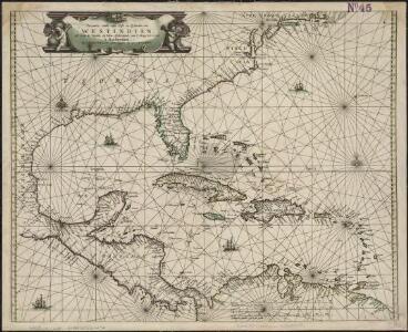 Pascaarte vande vaste cust en eylanden van Westindien, als mede de Virginis en Nieu-Nederland, van C. Droge tot C. Cod