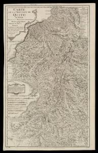 Carte de la province de Quito au Perou / dressée sur les observations astronomiques, journaux de route et mémoires de Mr. de la Condamine et sur ceux de Don Pedro Maldonado par Mr. D'Anville