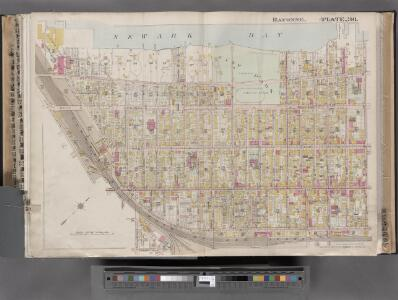 Jersey City, V. 1, Double Page Plate No. 36 [Map bounded by Newark Bay, E. 24th St., W. 24th St., Avenue E, W. 7th St.] / compiled under the direction of and published by G.M. Hopkins Co.