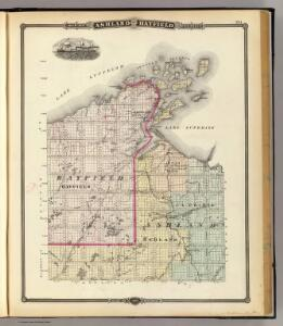 Map of Ashland and Bayfield counties, State of Wisconsin.