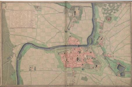 A colored plan of the town of Soissons