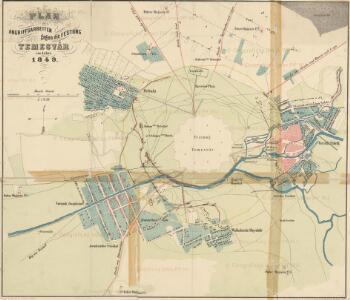 Plan der Angriffsarbeiten gegen die Festung Temesvár im Jahre 1849