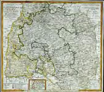 Charte von dem Königreiche Wirtemberg, dem Grossherzogthume Baden und den königl. bayerschen Acquisitionen in Schwaben [et]c., oder der Ober=Rhein