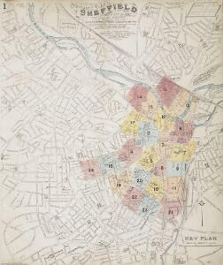 Insurance Plan of Sheffield (1896): Key Plan