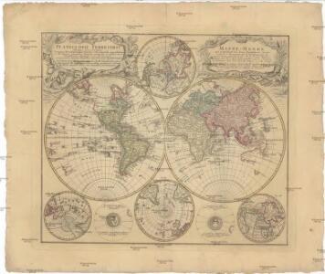 Planiglobii terrestris mappa universalis utrumq[ue] hemisphaerium orient. et occidentale repraesentans