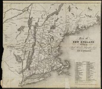 Map of New England exhibiting the rail and telegraphic lines now in operation