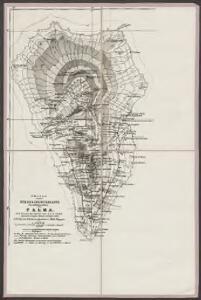 Skizze einer Höhenschichtenkarte des südlichen Teiles von Palma