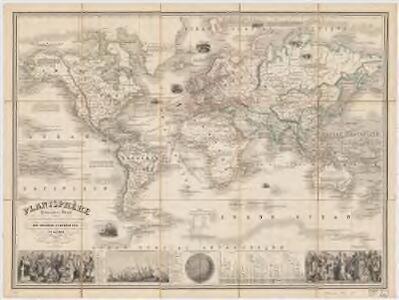 Planisphere : elémentaire et illustré indiquant la description géographique des parties connues de la terre, l'époque des grandes découvertes des navigateurs les colonies Européennes, les principaux parcours des paquebots, l'époque des départs, la durée du trajet, &c[a]