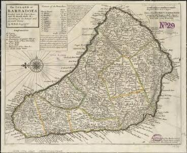 The island of Barbadoes, divided into its parishes, with the roads, paths, &c. according to an actual and accurate survey
