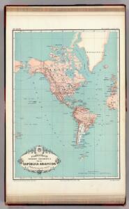 Planisferio, posicion geografica de la Republica Argentina.