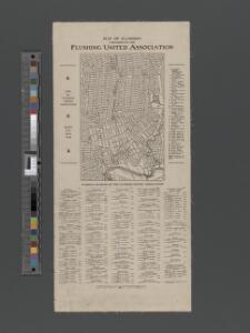 Map of Flushing published by the Flushing United Association. List of references to public buildings.