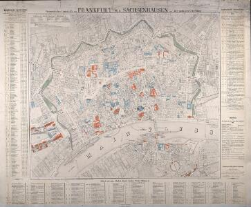 Geometrischer Grundriss von Frankfurt A/M. u. Sachsenhausen mit der nächsten Umgebung