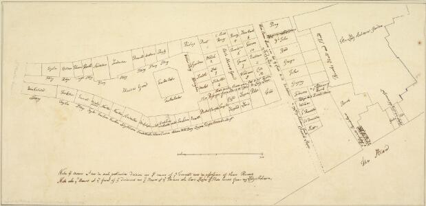 Plan of the property of Lady Acheson, Moor's Yard, St. Martin's Lane, and the Strand. 1689