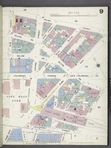 Manhattan, V. 1, Plate No. 9 [Map bounded by Pearl St., Rose St., Frankfort St., Elm St.]