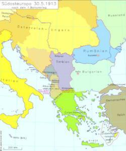 Südosteuropa 30.5.1913 nach dem 1. Balkankrieg
