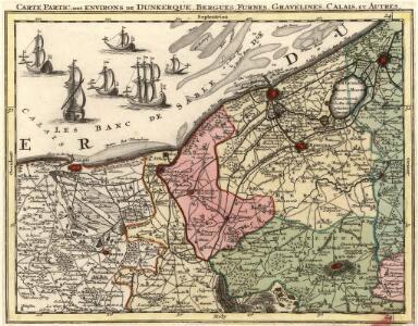 Carte Partic. des environs de Dunkerque, Bergues, Furnes, Gravelines, Calais, et Autres