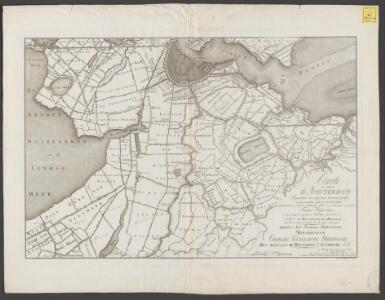 Carte des environs d'Amsterdam: représentant d'un coup d'oeil les avenues fortifiées avec les inondations autour de cette ville cèlebre, telles qu'elles étoient vers la fin de septembre 1787, et en même tems les quartiers des troupes prussiennes et [...]