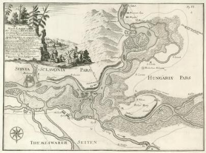 Neueste Landcarte Der Gränzen von Hungarn, Sclavonien, und Servien, woraus die Gegenden Peterwaradein, Belgrad, Pancsova, etc: anzutreffen sind.
