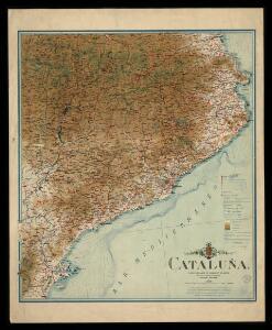 Cataluña y pais lindante de Aragón y Francia / mapa trazado, grabado y publicado por Eduardo Brossa